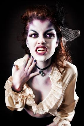 Woman dressed as a vampire