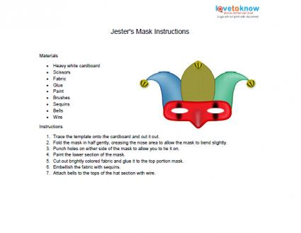 Jester Mask Template