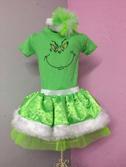 Girls The Grinch Christmas Holiday Dress