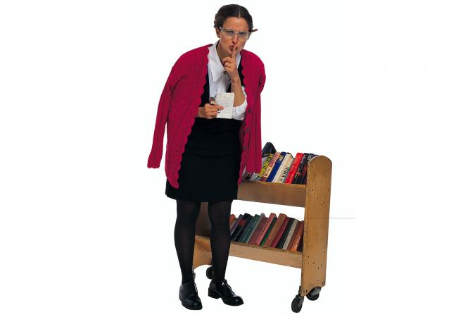 Librarian gesturing