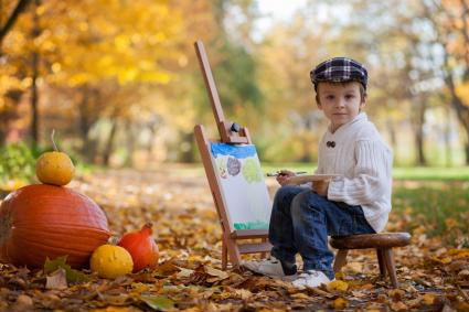 Little boy in artist costume