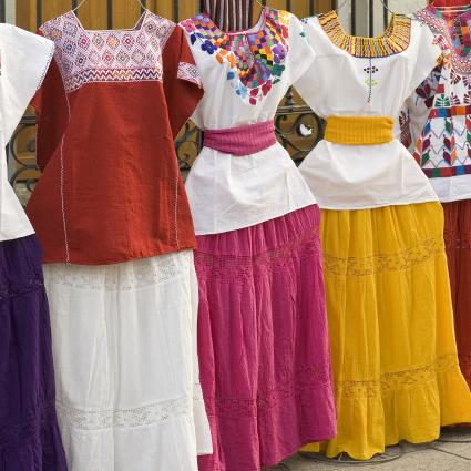 Traditional Mexican women's clothing at street market in Oaxaca, Mexico