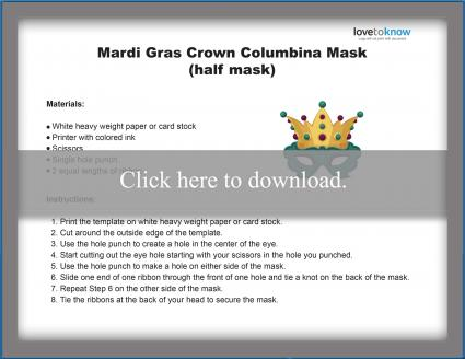 Mardi Gras Half Crown Mask