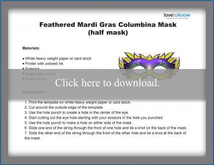 Mardi Gras Feathered Half Mask