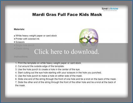 Kids Full Face Mardi Gras Mask