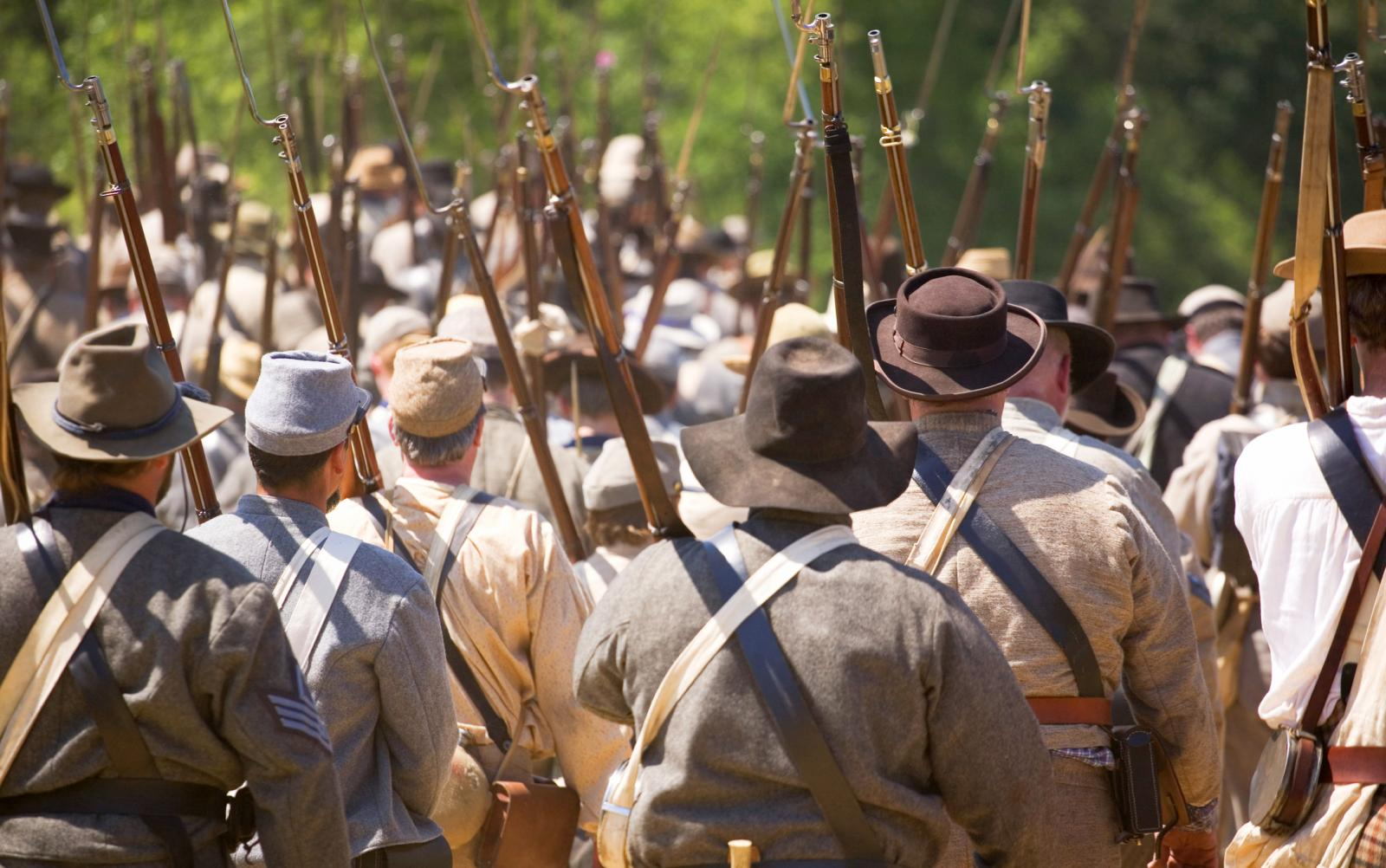 Confederate civil war soldiers marching