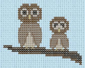 Owls on branch cross stitch pattern