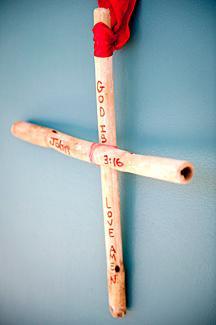 Rustic Easter cross pin