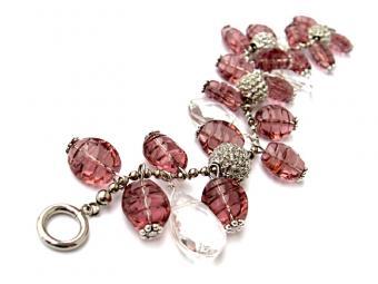 Raspberry ice beaded bracelet