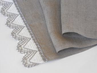 Linen and lace table runner from CikuCaku store on Etsy, http://www.etsy.com/listing/109546723/linen-table-runner-natural-gray-with