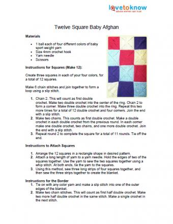 Twelve Square Baby Afghan Pattern