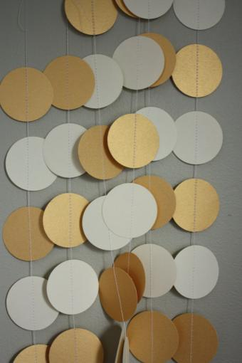 Cream and metallic gold 2 inch circle paper by dragonflies on Etsy