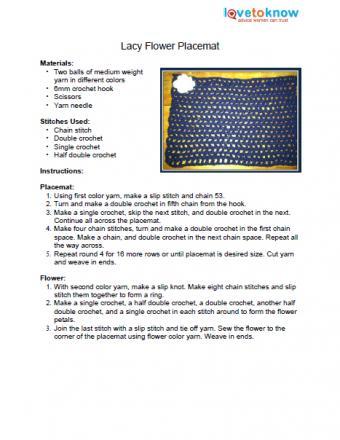 Crochet flower placemat