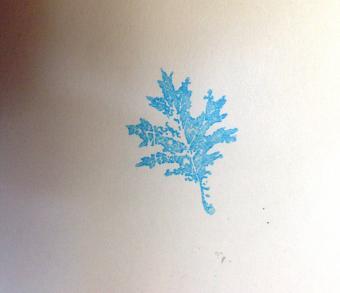Rubber stamped leaf