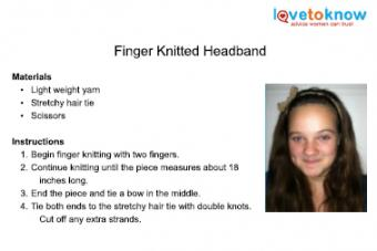 finger knitted headband