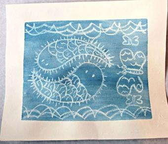 white crayon resist fish