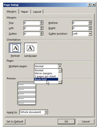 setting gutters in word processor