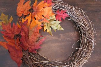 fall wreath in progress