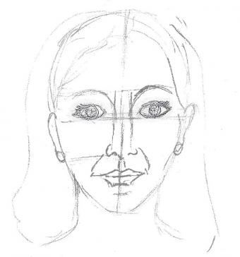 Drawing of woman's face