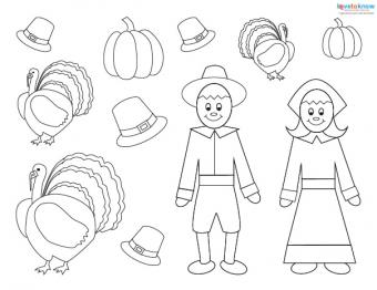 Preschool Thanksgiving Crafts placemat pieces 2 bw