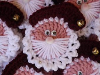 Crocheted Santa Head Christmas Ornament