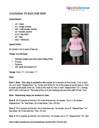 Printable instructions for crocheted 18-inch doll shirt