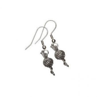 Yarn Ball Knitting Earrings