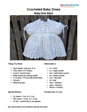 Baby Doll Style Baby Dress Pattern