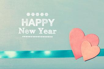 Happy New Year Card with Hearts
