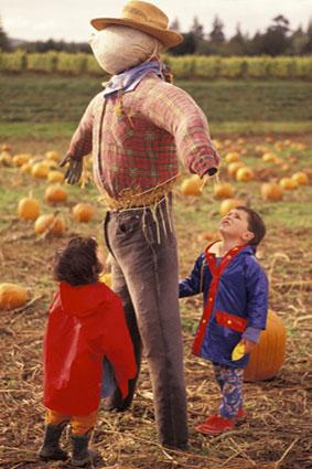 Children with scarecrow
