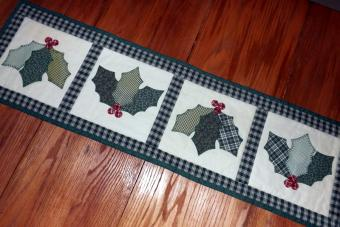 Appliqued Holly Table Runner
