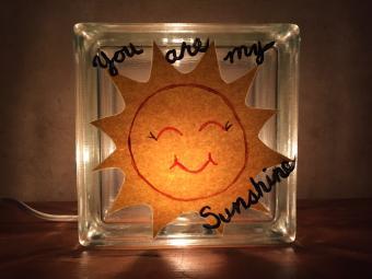 You are my sunshine glass block nightlight