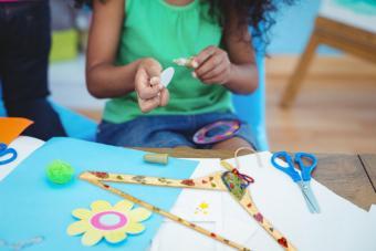Child making crafts