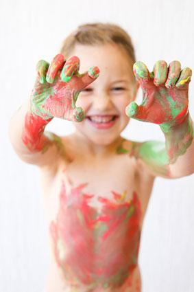 Kid with body paint