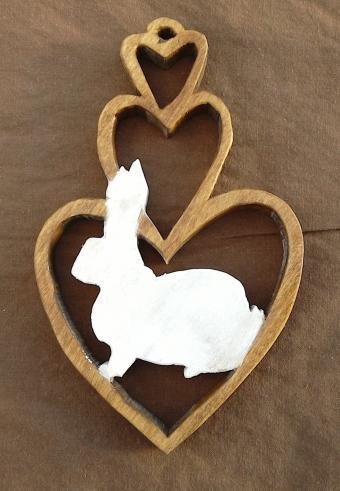 Bunny Love Scroll Saw Plaque