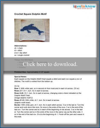 Crochet Square Dolphin Motif Pattern