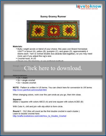 Granny Square Rug Runner Pattern