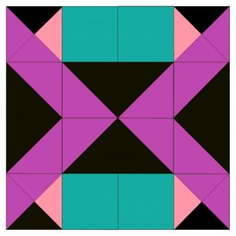 Pink, teal and black quilt square