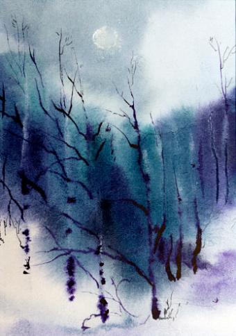 lilac forest painted in watercolor
