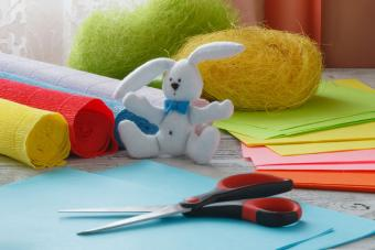 Easter paper crafts on table