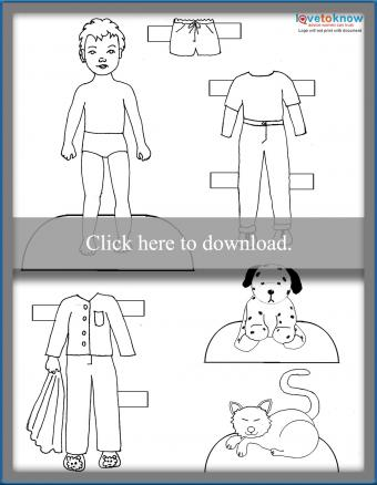 boy and his pets paper doll