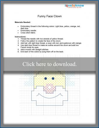 Funny face clown stitching pattern