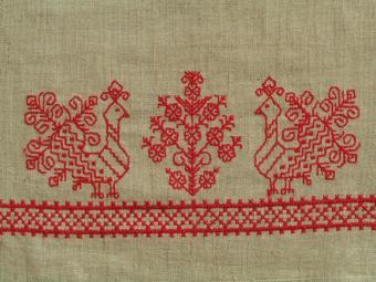 Red cross stitch with birds