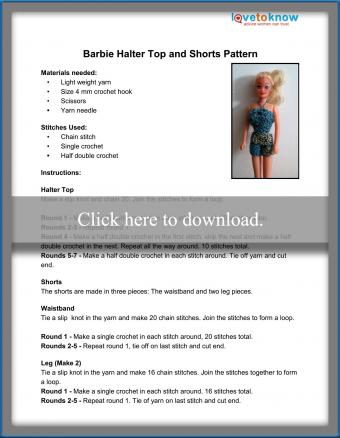 Barbie Halter Top and Shorts Pattern