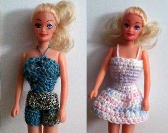 completed crochet barbie doll clothes