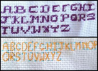 Examples of cross stitch alphabet