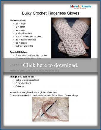 Bulky Fingerless Gloves Pattern