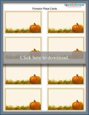 Thanksgiving pumpkin place cards printable template