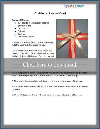 Christmas present card printable pdf
