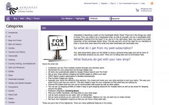 Screenshot of Handmade Artists Shop website